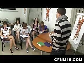 5 naughty college sluts get crazy during anatomy class