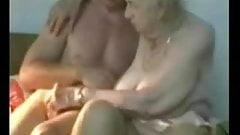 Very old granny used by younger man. Amateur older