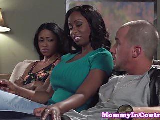 Bigbooty ebony milf facialized in threesome