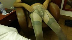 Cumming in suspenders and pantyhose