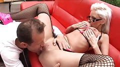 Sexy blond in glasses gets her cunt boned and face creamed