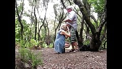 Old couple in the woods
