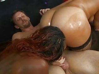 Preview 5 of Lucky white stud gets his throbbing cock deep-throated by two black whores