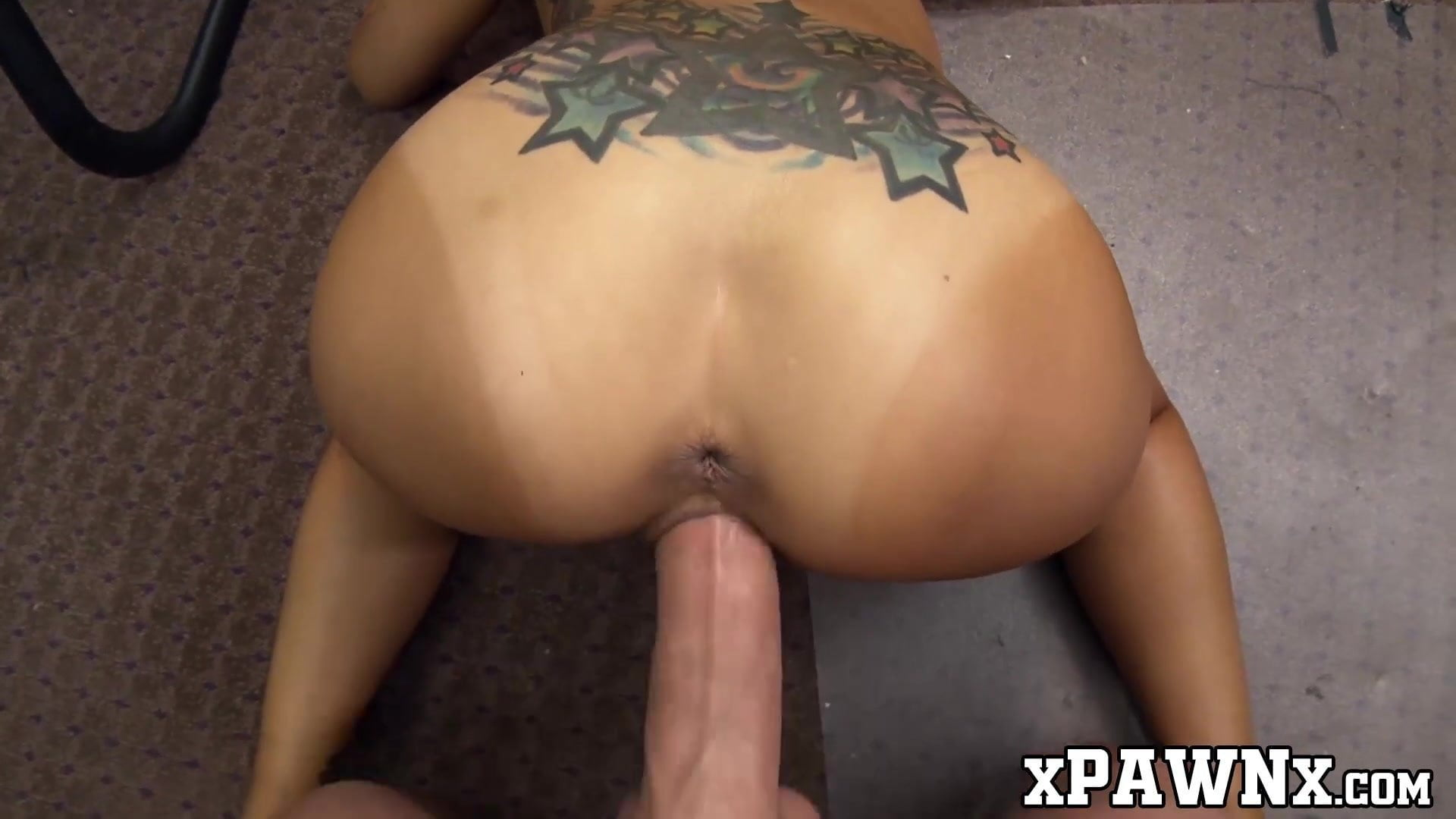Tiny Asian chick hammered from behind in the pawnshop