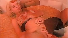 Sexy young blonde wraps her lips around a thick cock and gets her ass drilled