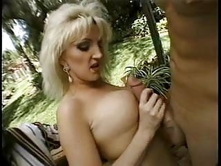 Mature blonde gets a thick cock in her mouth and gives guy blowjob then fucks