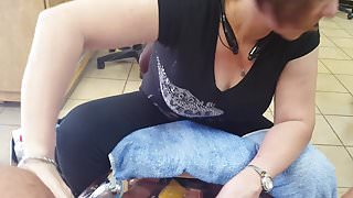 Cock Flash and Jack off cum shot while getting pedicure