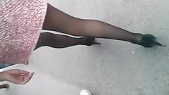 Following a girl with Mini Skirt and Sexy Stockings