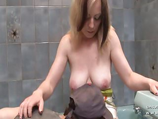 Busty french mom with big butt hard banged in the bathroom