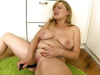 Pretty plump blonde milf solo