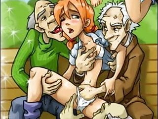 Young girls sex with old men - Young girl at group sex with 3 old men
