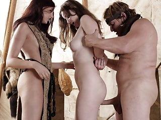 Barbarian warrior and his slaves