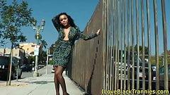 Black trans beauty wanks pierced cock solo