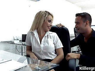 Big boobs blonde plays office slut