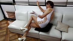 lady in white addicted to anal sex and facial
