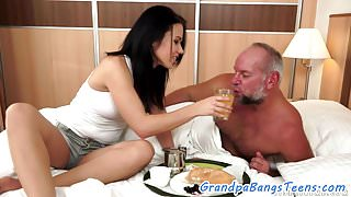 Gorgeous bigtits babe loves old guys dick