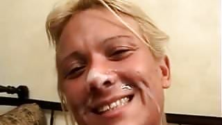 Blonde MILF Takes It In Her Ass Then A Facial