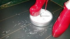 Lady L crush  clock with red boots.