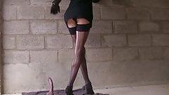 Plugged crossdresser outdoor wear stoking and high heels