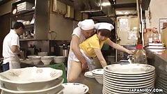 Japanese waitress Mimi Asuka gets finger fucked in the resta