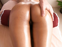 Horny girl gives the masseur a blowjob
