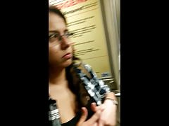 Young girl downblouse in Train