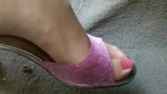 pink jelly heels pedal pumping