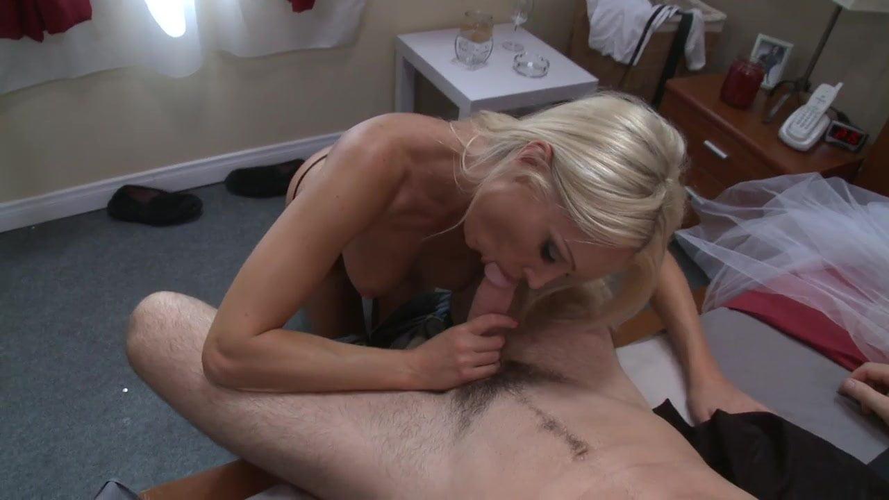 Gorgeous blonde babe rides a big hard cock