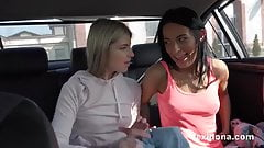 Lexi Dona and Gina Gerson play naked in a moving car