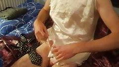 Cumming on white satin dress