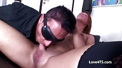 Shemale and male with shaved cocks sucking and bareback fuck