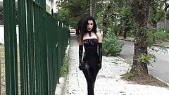 Ultra sexy goth girl wearing black lipstick in public