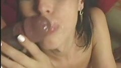 Cute young tranny takes two big dicks and drinks cum