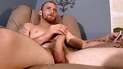 Good looking bum driller loves wanking his fat fuck stick