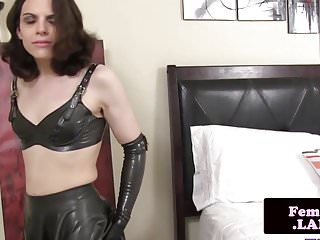Preview 2 of Latex fembois queen masturbating cock and ass