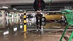 Crossdresser self-exposed at public parking lot