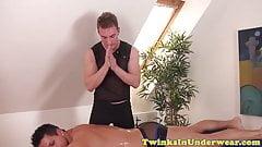 Muscular twunk cumsprayed on cock