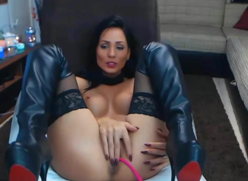 Fetish leather restraint breast