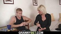 He doggy-fucks old blonde milf