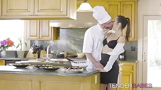 Handsome babe Lily Adams pounded hard in kithcen by Chef