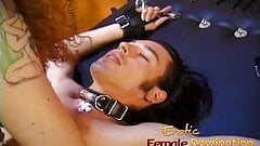 Lusty bitch has her cunt licked and grinds against a shaft