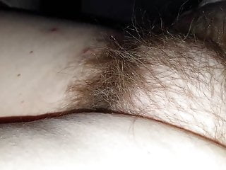 feeling & pulling on her long pubic hair