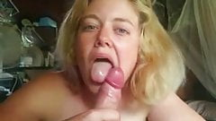 Cute blonde gives lovely blowjob