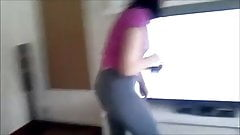 girl in sexy leggings, cameltoe, ass, masturbation, squirt