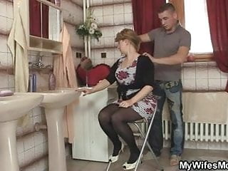 His wife leaves and he bangs her hot mom