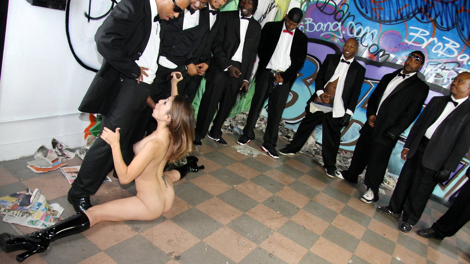Amber Rayne Rough Interracial Gangbang