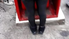 Spandex leggings outdoors
