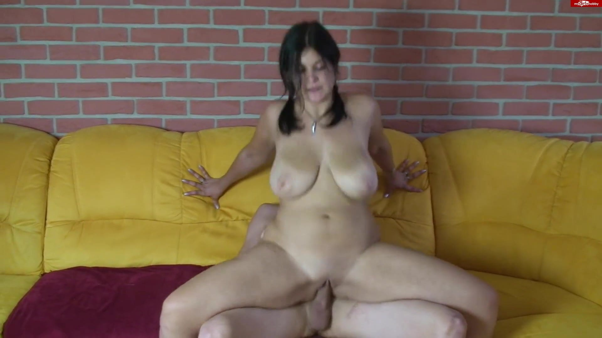 busty brunette amateur creampie with guy