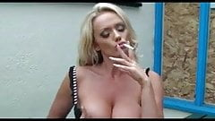 Hot Blonde In Heels Smoking and Diddling