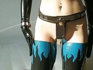 Latex Ballet Boots Cuffs Chastity Belt Amazing